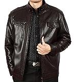 Zimaes-Men Zip-Front Regular Fit Business Faux Leather Jackets Black 2XL