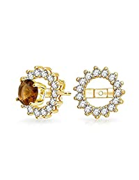 Bling Jewelry .925 Silver Gold Plated CZ Round Earring Jackets For Studs