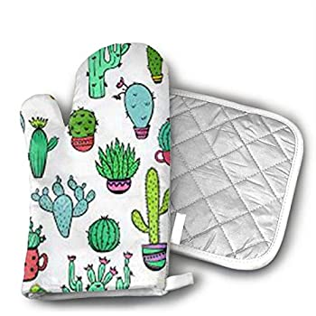 NoveltyGloves Pot Holders and Oven Mitts 1 Hot Pads and 1 Potholders Set with Cactus Print