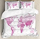 Ambesonne Light Pink Duvet Cover Set King Size, Cute World Map Continents Island Land Pacific Atlas Europe America Africa, Decorative 3 Piece Bedding Set with 2 Pillow Shams, White Light Pink