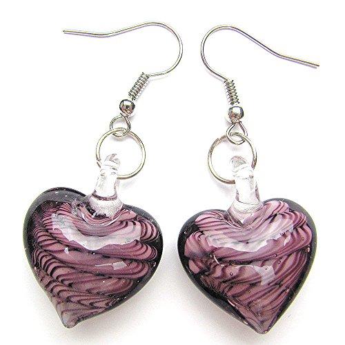 Love Hearts Murano Art Beads Lamwork Glass Pendants Fashion Drop Dangle Earrings Purple (Heart Purple Murano Pendant)