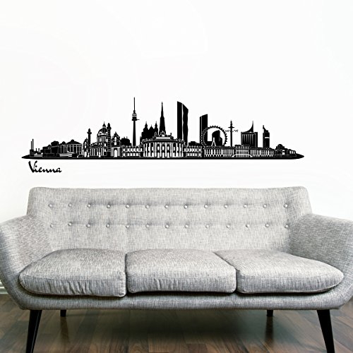 Wandkings Skyline wall sticker wall decal - 48 x 10 inch in black - Your city selectable - - Vienna Images