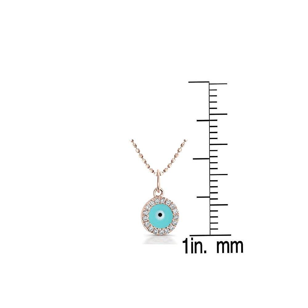 Victoria Kay 14k Yellow Gold Diamond and Light Blue Enamel Mini Evil Eye Pendant 1 5cttw, JK, I2-I3 , 16