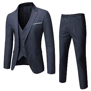 GOMY メンズ 3ピーススーツ ビジネス 品質がある  春夏秋冬 一つボタン  結婚式 卒業式 就職活動セットアップ フォーマルスーツ (XS, ダークグレー)