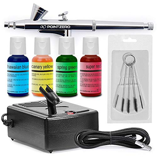 - PointZero Cake Airbrush Decorating Kit - Airbrush, Compressor, and 4 Chefmaster Colors