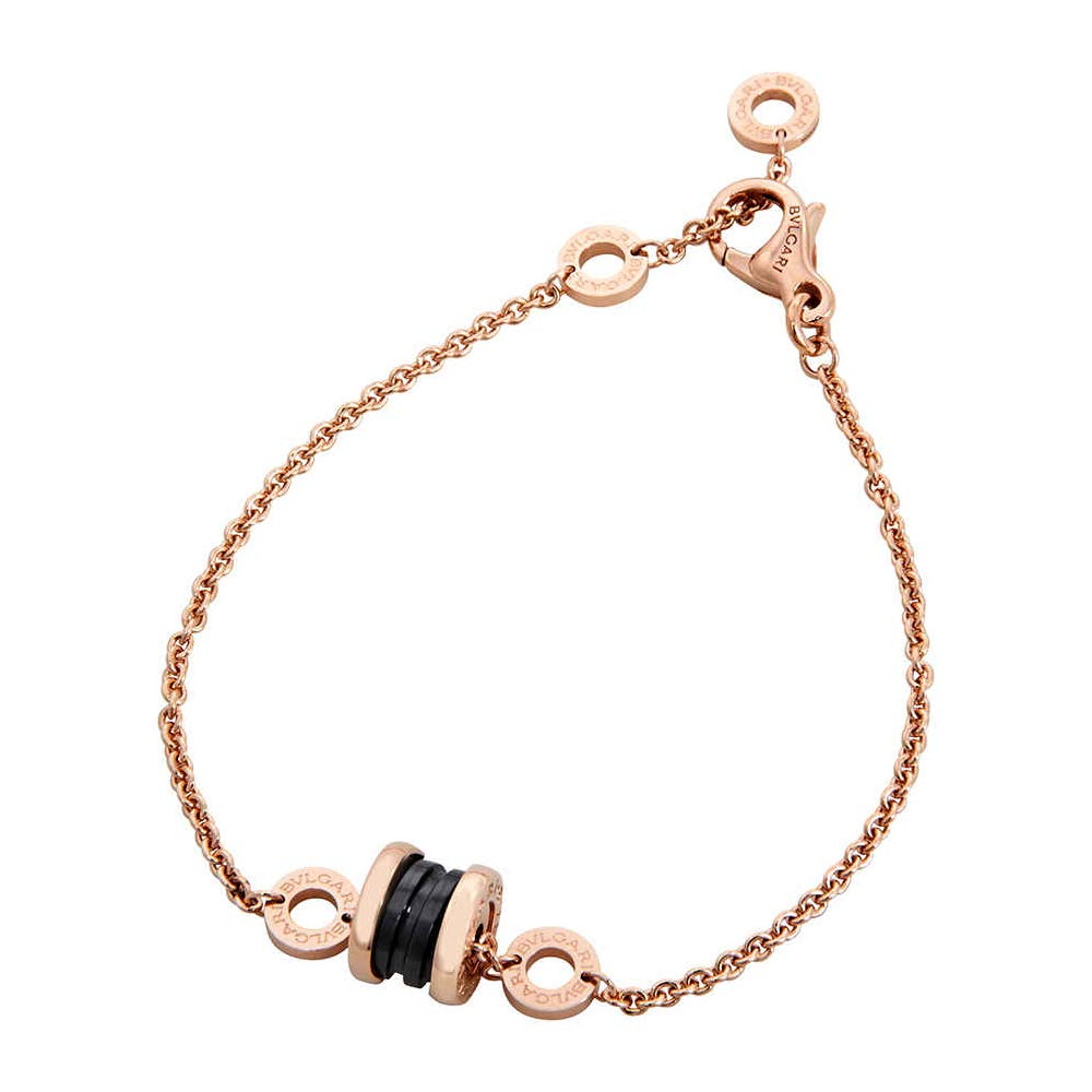 b75063372 Bvlgari B.Zero1 18K Pink Gold and Black Ceramic Bracelet- Size: M/L: Bvlgari:  Amazon.ca: Watches