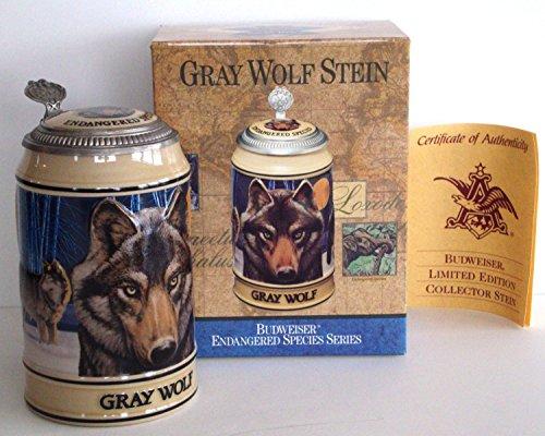Lidded Beer Stein (BUDWEISER ENDANGERED SPECIES SERIES LIDDED BEER STEIN, GRAY WOLF)