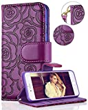 iPhone 6 Wallet Case, FLYEE iphone 6s Premium Vintage Emboss Flower Flip Wallet Shell PU Leather Magnetic Cover Skin with Detachable Wrist Strap Case for iPhone 6/6s 4.7'(Purple)