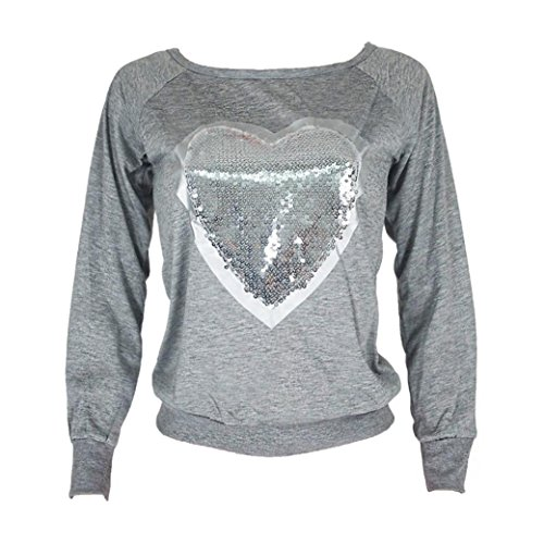 Mchoice Women Heart Sequins Long Sleeve Top Shirt Blouse (XL, Grey)