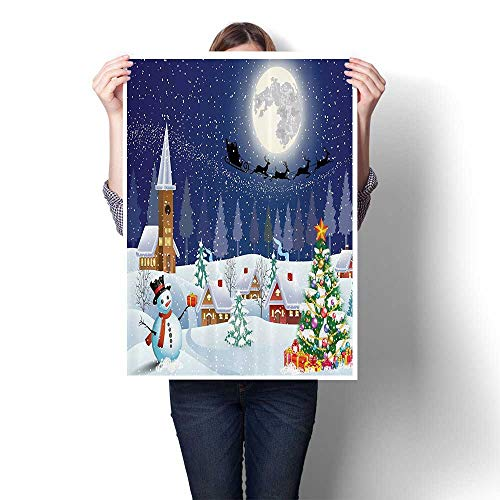 - SCOCICI1588 Canvas Wall Art for Bedroom Home Decorations Christmas Bathroom Curtains Christmas Eve in Small Town Santa Tree for Home Decoration No Frame,28