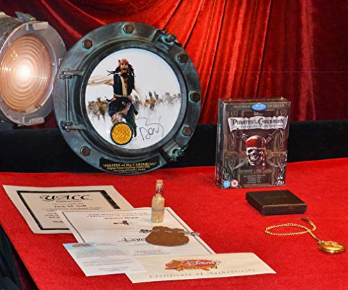 JOHNNY DEPP Signed Autograph Porthole, PIRATES OF CARIBBEAN, Disney SCREEN USED Prop COIN, DVD, UACC, COA, pirate pocket watch