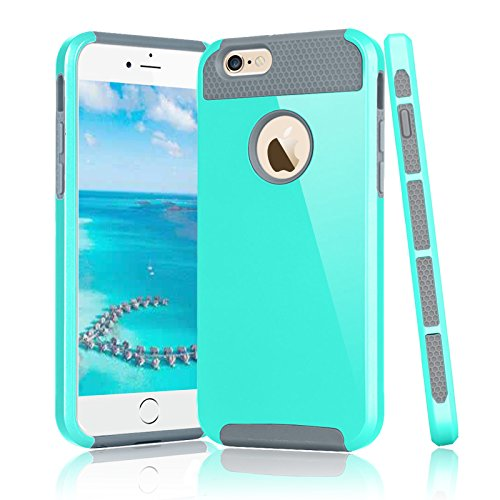 Njjex iPhone 6S Plus Case, for iPhone 6 Plus Case, [Nbrin] Hard Shock Absorbing Hybrid Slim Glossy TPU Rubber + Plastic Impact Defender Rugged Cover Shell for iPhone 6S Plus/ 6 Plus [Mint/Grey]