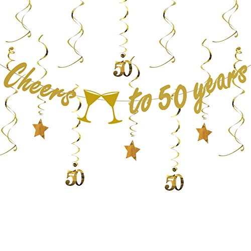 (Tuoyi Gold 50th BIRTHDAY PARTY DECORATIONS KIT - Cheers to 50 Years Banner, Sparkling Celebration 50 Hanging Swirls, Perfect 50 Years Old Party Supplies 50th Anniversary Decorations)