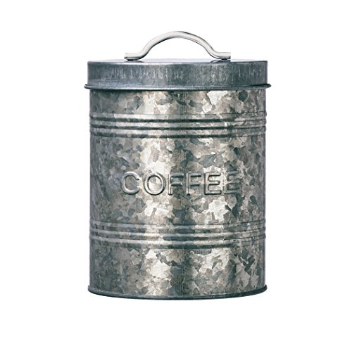 Amici Home, A7CJ007R Rustic Kitchen Collection Coffee Relief Galvanized Metal Storage Canister, Food Safe, 76 Ounces ()