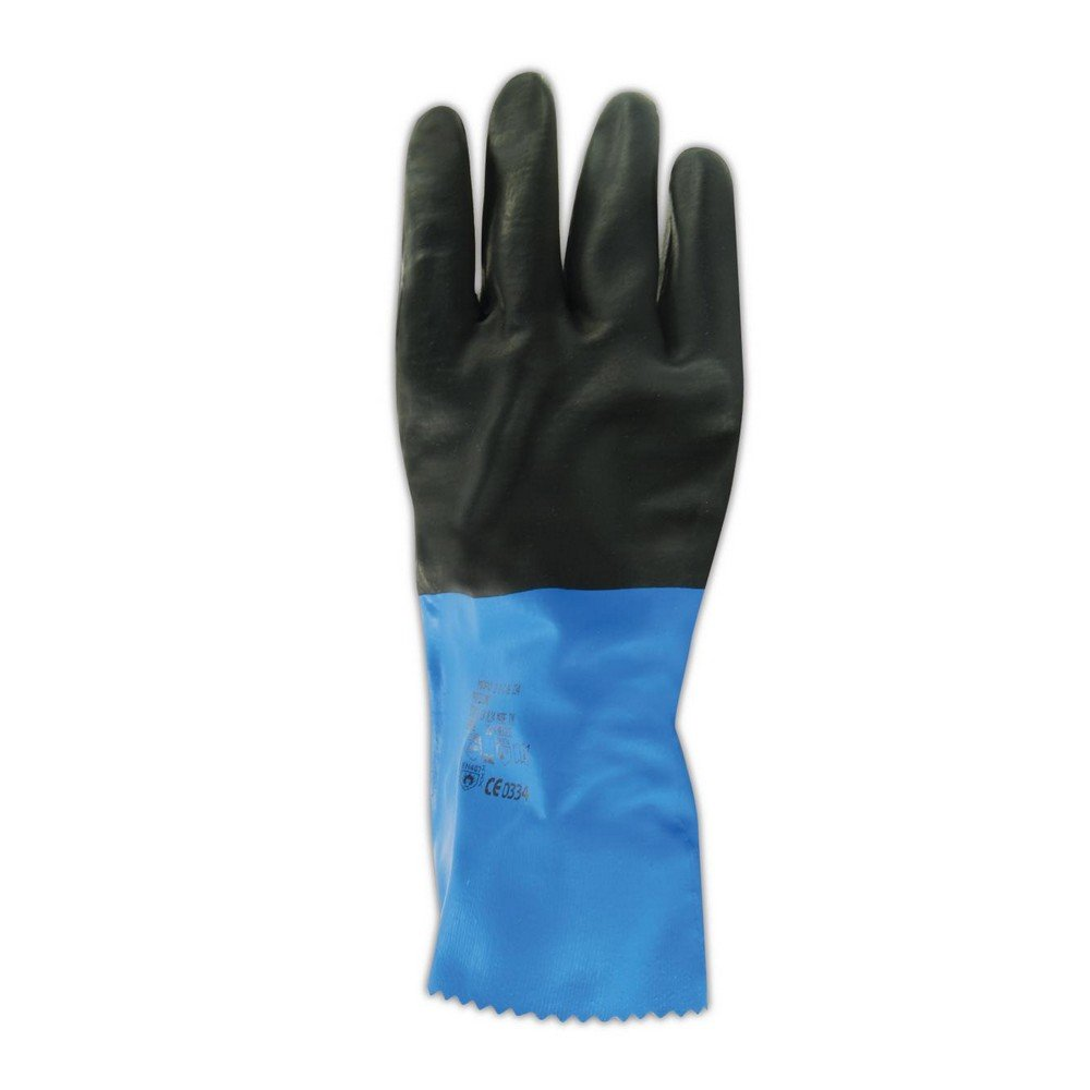 Size 9 Chemical Resistant Box of 12 Pairs Black//Blue MAPA StanZoil NL-34 Neoprene Mediumweight Glove 12 Length