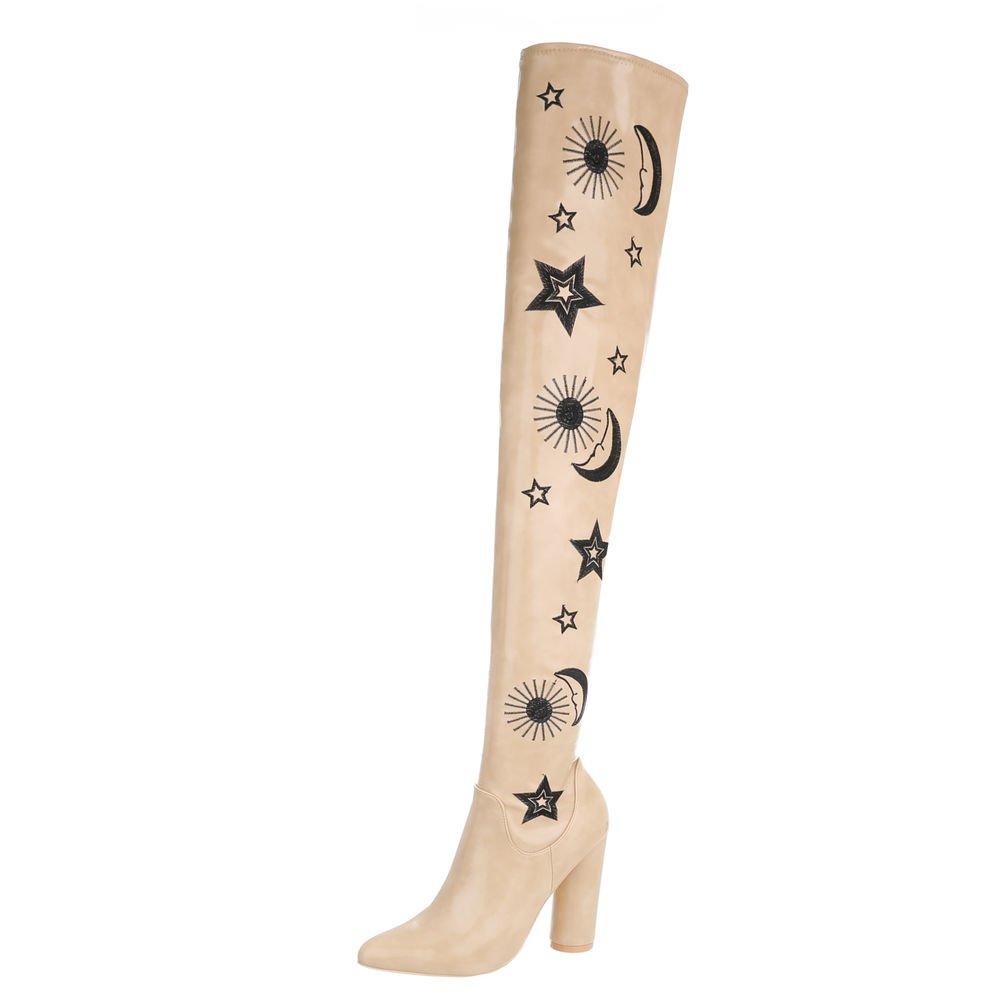 Ital-Design Chaussures Bottines Femme Bottes et Bottines et Beige Kitten-Heel Bottes Cuissardes Beige 4df543c - shopssong.space