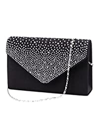 U-Story Women's Rhinestone Satin Frosted Evening Wedding Clutch Bag Handbag Purse (Black)