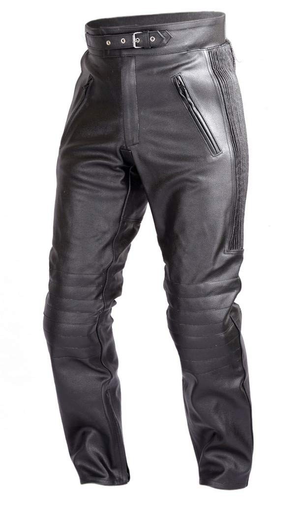 WICKED STOCK Mens Motorcycle Black Leather Pants with CE Rated 4 Piece Armor PT55 (S)