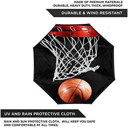 バスケットボール ユニセックス二重層防水ストレート傘車逆折りたたみ傘C形ハンドル付き
