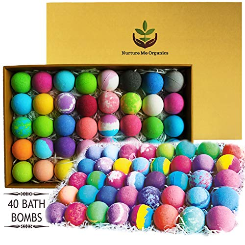 Natural Bath Bombs Gift Set - Nurture Me Organic 40 Bath Bombs for Kids & Adults Infused with Essential Oils! Individually Wrapped Lush Bath Bomb Gift Set for Women & Kids!