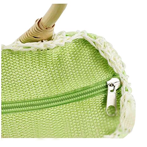 Handle Top Handbag Woven Shopping Straw Green Flowers FAIRYSAN Beach Exquisite Small Tote with Fruit Lovely Bags HwttqB8z