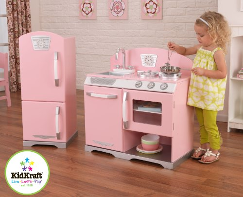 Amazoncom Kidkraft Retro Kitchen And Refrigerator In Pink Toys