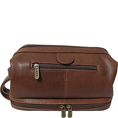 AmeriLeather Leather Toiletry Bag - Brown