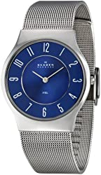Skagen Men's 233LSSNC Steel Blue Dial Mesh Bracelet Watch