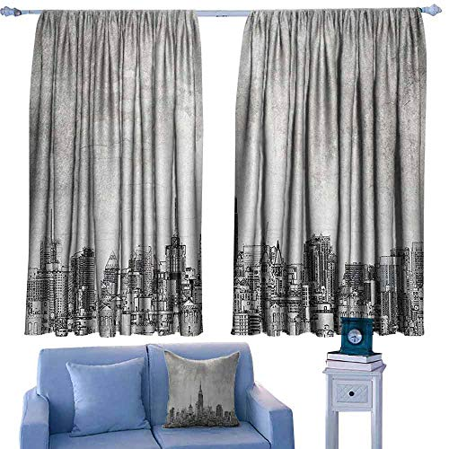 (Mannwarehouse Noise Reduction Curtain Apartment Decor Collection Cosmopolitan New York City Skyline with Iconic Skyscrapers and High Buildings Artsy Design Noise Reducing 55
