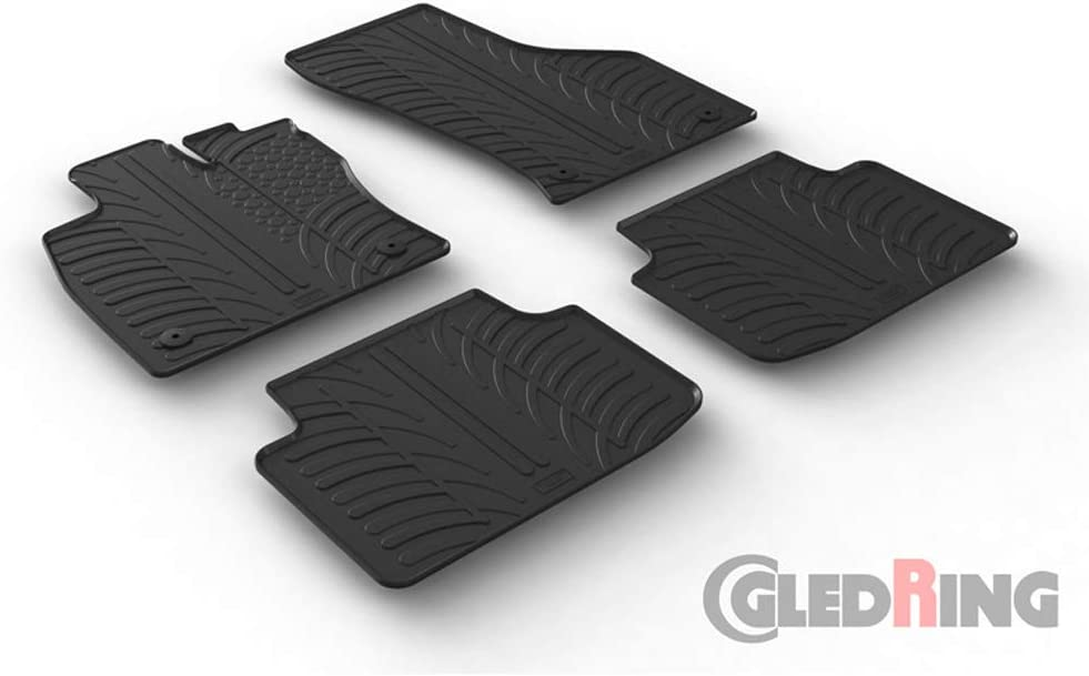 T-Profile 4-Piece + Mounting Clips Rubber Mat Set Compatible with Volkswagen Passat 3G Sedan//Variant 2014-