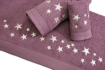 Montse Interiors Juego de Toallas Bordadas Estrellas 3 Piezas 550gr Humo Big Stars N/º14