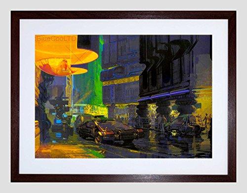 FUTURE VISION CITYSCAPE NEON STREET CAR BUILDING LIGHT FRAMED PRINT B12X7343 (Neon-rahmen)