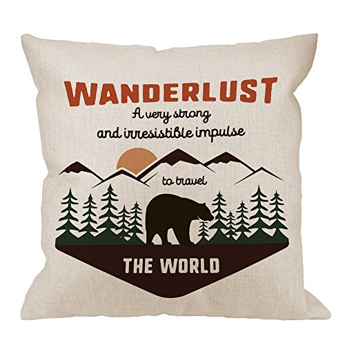 HGOD DESIGNS Wanderlus Pillow Covers,Decorative Throw Pillow Adventure Quotes Travel The World with Mountain Explorer and Forest Bear Pillow cases Cotton Linen Cushion Covers For Home Sofa couch 18x18