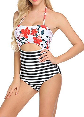 POGTMM Women's Leaves Floral Printing Striped Cutout High Waist Halter Padding One-Pieces Swimsuit (FBA) (L, Orange Lilies Print)