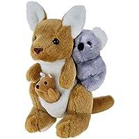 Kangaroo with Joey and Koala Soft Plush Toy, 24 Centimeters