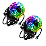 ANKO Mini LED Stage Magic Light, 7 Color Changes Sound Active RGB Mini LED Rotating Magic Ball Lights For KTV, Party, Wedding, Show, Club Pub Disco DJ And More(BLACK) (2 PACK)