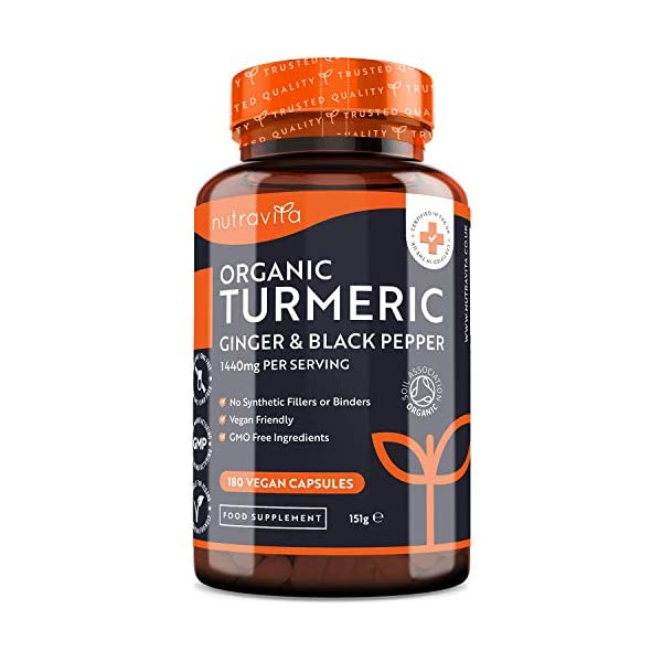 Organic-Turmeric-1440mg-with-Black-Pepper-Ginger-180-Vegan-Turmeric-Capsules-High-Strength-3-Month-Supply–Organic-Turmeric-with-Active-Ingredient-Curcumin-Made-in-The-UK-by-Nutravita