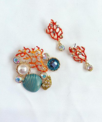 The latest corsage Sea World Series coral pearl shell brooch. And coral earrings