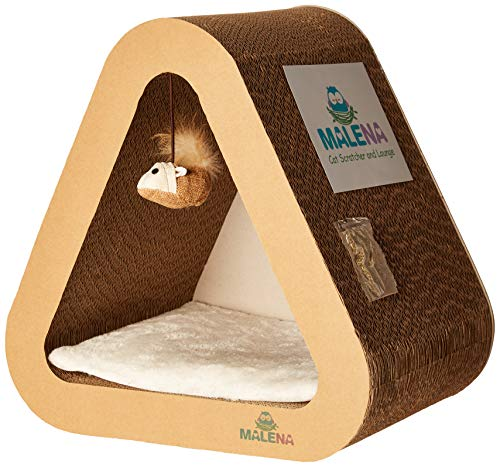 Malena 3 in 1 Vertical Cat Scratcher and Lounge with Removable Soft Pad and a Mouse Toy | Fits All Cats | Catnip…
