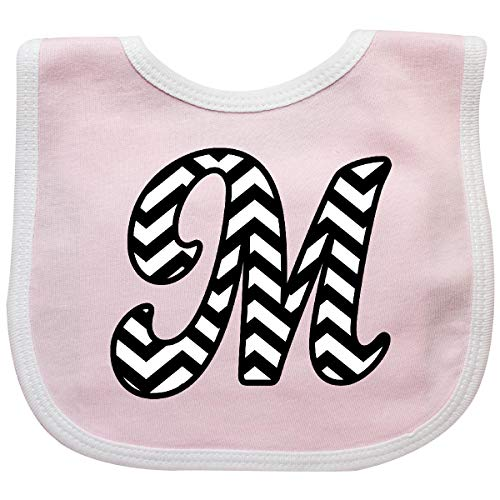 Inktastic - Chevron Monogram Letter M Baby Bib Pink/White 1fc84 (Initial Baby Bib)