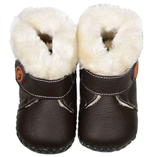 FREYCOO–niñas niños niños Real de piel suela blanda bebé patucos botas marrón Eco Inners–con calzador