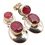 ROYAL RUBY STUD EARRINGS DANGLE ! 925 Silver Plated ! Best Gift For Loved Ones ! Women's Jewelry