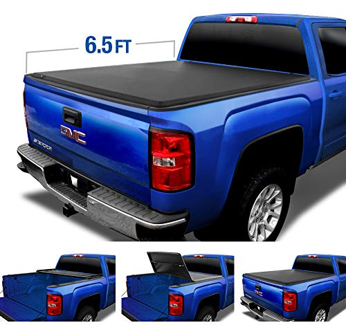 Tyger Auto (Soft Top T3 Tri-Fold Truck Tonneau Cover TG-BC3C1009 Works with 1988-2006 Chevy Silverado/GMC Sierra 1500 2500 3500 HD (Incl. 2007 Classic) | Fleetside 6.5' Bed