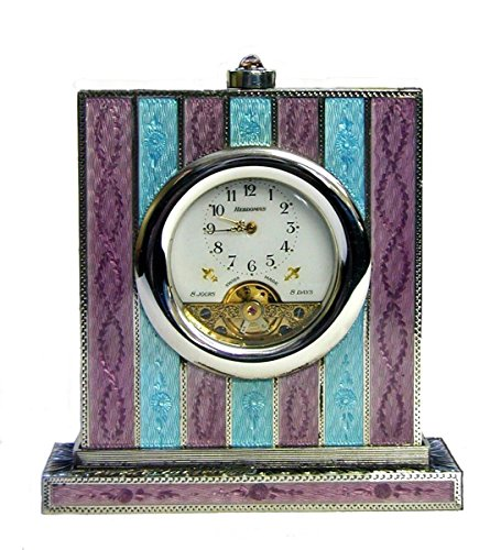 Table clock in silver with enamels - hand made by Salimbeni for sale  Delivered anywhere in USA