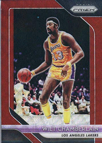 2018-19 Panini Prizm Prizms Ruby Wave #205 Wilt Chamberlain Los Angeles Lakers Basketball Card