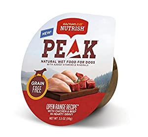 Rachael Ray Nutrish PEAK Natural Wet Dog Food, Grain Free Open Range Recipe with Chicken & Beef in Hearty Gravy, 3.5 oz. tub (Pack of 16)