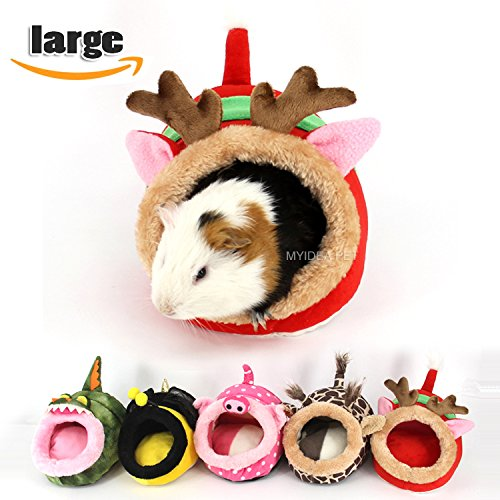 MYIDEA Guinea pigs House,Hedgehog Nest,Rabbits, Chinchillas & Small pet Animals Bed/Cube/House, Habitat, Lightweight, Durable, Portable, Cushion Big Mat For Party Gifts (Small Pet - L, Red elk) by MYIDEA (Image #1)