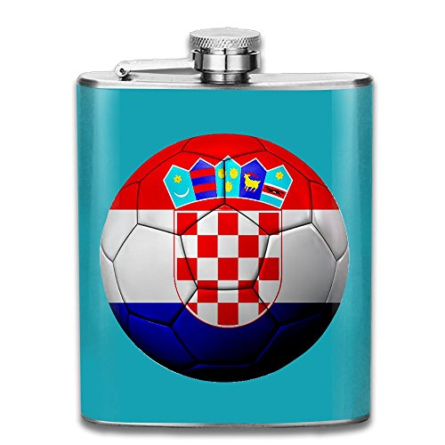 (CzxzZd CZZD Football Team Croatia Portable Stainless Steel Flagon Brandy Wine)
