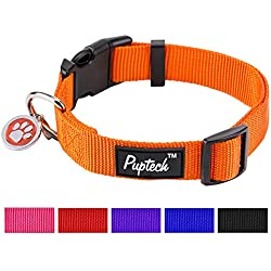 """Nylon Puppy Adjustbale Collars Designer for Medium Small Dogs with ID Tag 12""""-16"""" PUPTECK"""