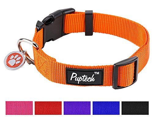 PUPTECK Large Dog Collar Nylon Adjustable with ID Tag for Medium Big Pets 14.5-20